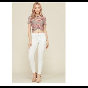 Floral top in Taupe size medium